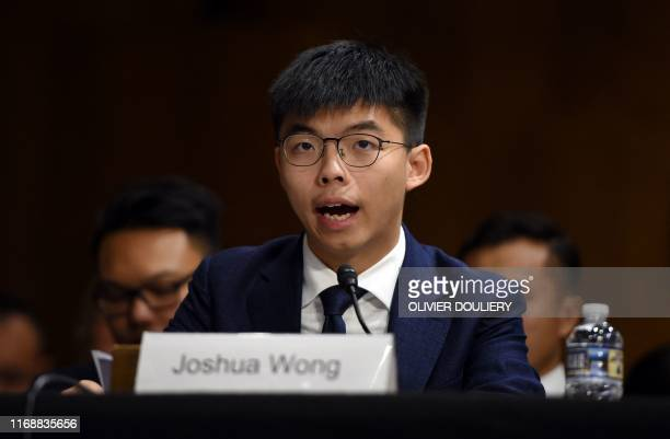 "Joshua Wong, secretary-general of Hong Kong's Demosisto party and leader of the ""Umbrella Movement"" testifies before the Congressional-Executive..."