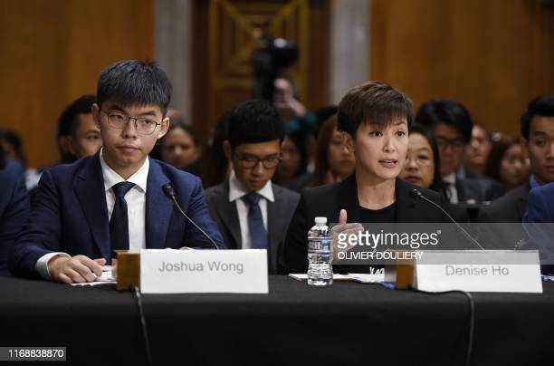 "Joshua Wong , secretary-general of Hong Kong's Demosisto party and leader of the ""Umbrella Movement"" and Denise Ho, pro-Democracy activist and..."