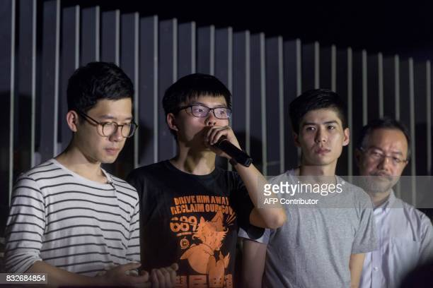 Joshua Wong who became the face of Hong Kong's huge Umbrella Movement speaks next to fellow prodemocracy activists and former legislator Nathan Law...