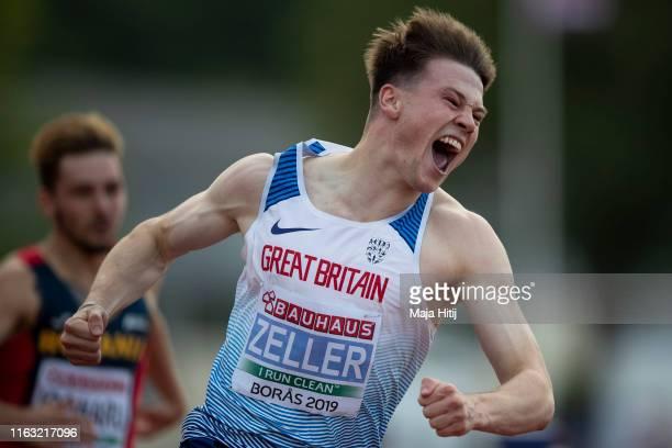 Joshua Zeller of Great Britain celebrates after winning 110m Men Hurdles Final on July 20, 2019 in Boras, Sweden.
