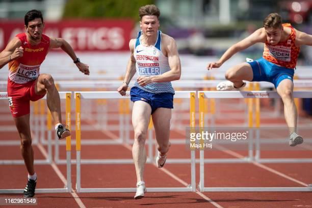 Joshua Zeller of Great Britain & Northern Ireland competes during 110m Hurdles Men on July 19, 2019 in Boras, Sweden.