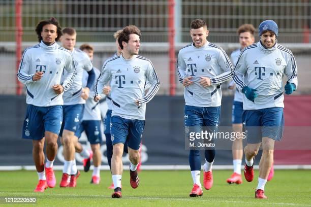 Joshua Zirkzee, Alvaro Odriozola, Lucas Hernandez and Javi Martinez during a training session at Saebener Strasse training ground on March 13, 2020...