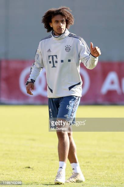 Joshua Zirkzee of FC Bayern Muenchen gestures during a training session at Saebener Strasse training ground on January 15 2020 in Munich Germany