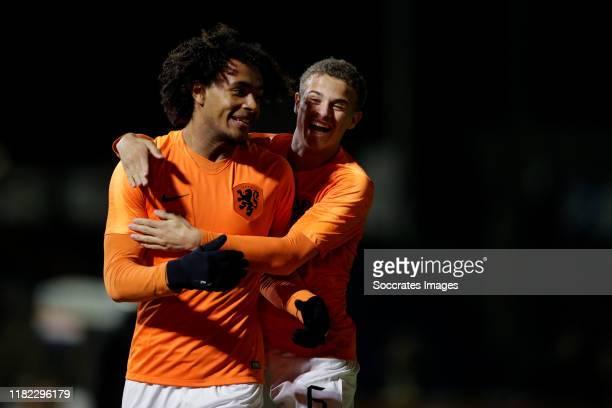 Joshua Zirkzee of Holland U19 celebrate his goal the 10 with Kenzo Goudmijn of Holland U19 during the U19 Men match between Holland U19 v Czech...