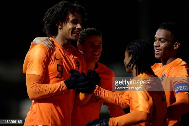 Joshua Zirkzee of Holland U19 celebrate his goal the 10 with Kenzo Goudmijn of Holland U19 Jurrien Timber of Holland U19 during the U19 Men match...