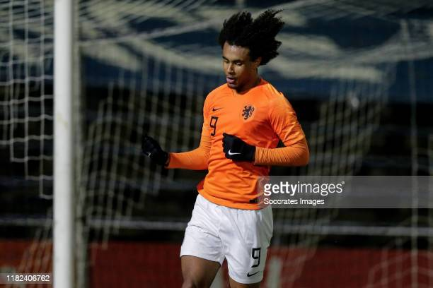 Joshua Zirkzee of Holland U19 celebrates his goal the 33 during the U19 Men match between Holland U19 v Czech Republic U19 at the Sportpark Nieuw...