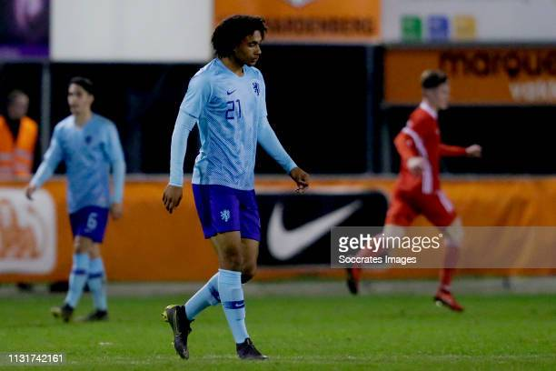 Joshua Zirkzee of Holland U19 during the match between Wales U19 v Holland U19 at the Sportpark de Boshoek on March 20 2019 in Hardenberg Netherlands
