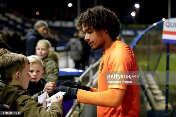 Joshua Zirkzee of Holland U19 with fans after the game during the U19 Men match between Holland U19 v Czech Republic U19 at the Sportpark Nieuw Zuid...