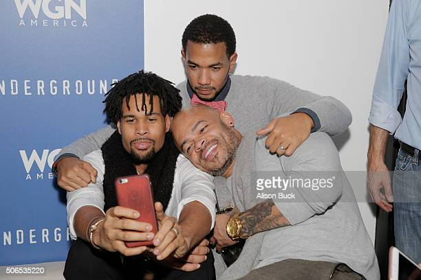 Josiah Bell Alano Miller and director Anthony Hemingway attend the WGN America celebration of Underground with John Legend At The VIDA TEQUILA Lounge...