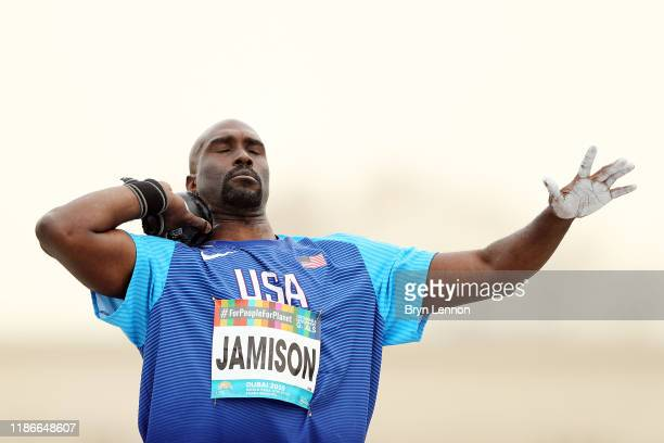 Josiah Jamison of the USA prepares to throw in the Men's Shot Put F12 on Day Four of the IPC World Para Athletics Championships 2019 Dubai on...