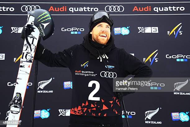 Josiah Wells of New Zealand smiles following the FIS Freestyle Ski World Cup Slopestyle Finals during the Winter Games NZ at Cardrona Alpine Resort...