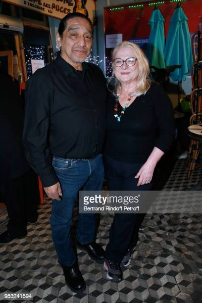 Josiane Balasko and her husband George Aguilar attend the Dinner in honor of Nathalie Baye at La Chope des Puces on April 30 2018 in SaintOuen France