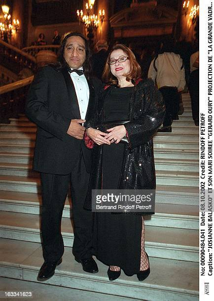 Josiane Balasko and her husband 'Gerard Oury' film screening of 'La Grande Vadrouille' at the Garnier opera