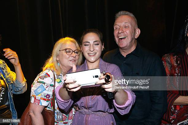 Josiane Balasko her daughter Marilou Berry and stylist JeanPaul Gaultier pose after the Jean Paul Gaultier Haute Couture Fall/Winter 20162017 show as...