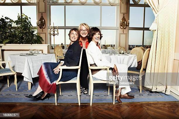 Josiane Balasko Karin Viard and Nadia FARES posing in the grand salon of the Grand Hotel de Cabourg