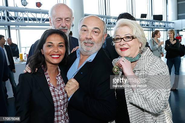 Josiane Balasko with Director Bertrand Blier , actor Gerard Jugnot and his companion Saida Jawad - Actress Josiane Balasko receives the Medal of Arts...