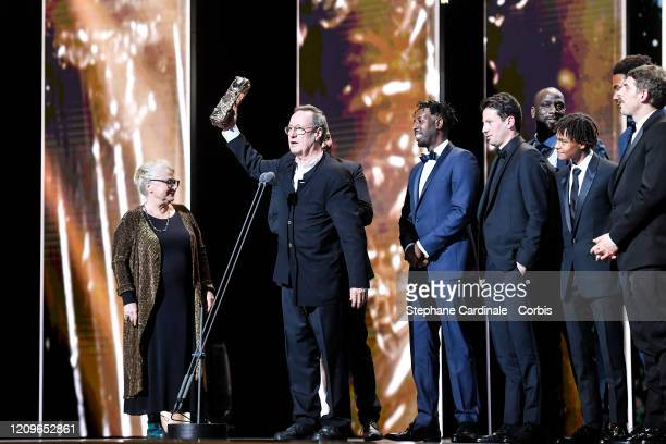 Josianne Balasko Jean Labadie and Ladj Ly and members of the cast and crew of Les Miserables on stage during the Cesar Film Awards 2020 Ceremony At...