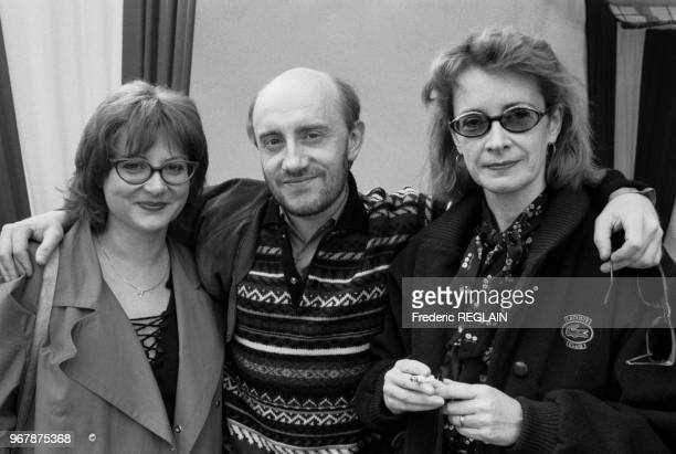 Josianne Balasko Michel Blanc et Dominique Lavanant lors d'un cocktail pour le lancement de la Citroën AX à Paris le 16 mai 1987 France