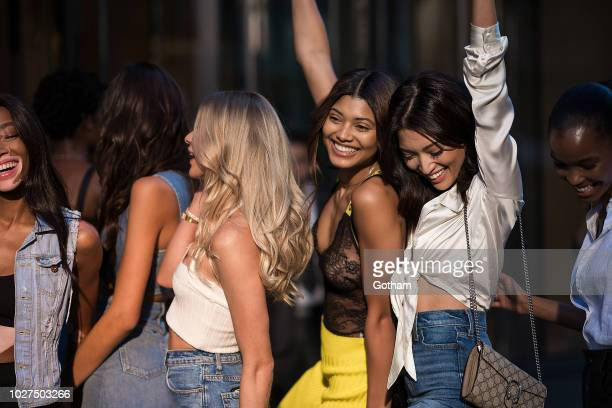 Josie Canseco Danielle Herrington and Aqua Parios attends casting for the 2018 Victoria's Secret Fashion Show in Midtown on September 5 2018 in New...