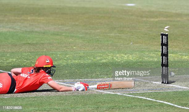 Josie Dooley of the Melbourne Renegades makes her crease during the Women's Big Bash League match between the Melbourne Renegades and the Adelaide...
