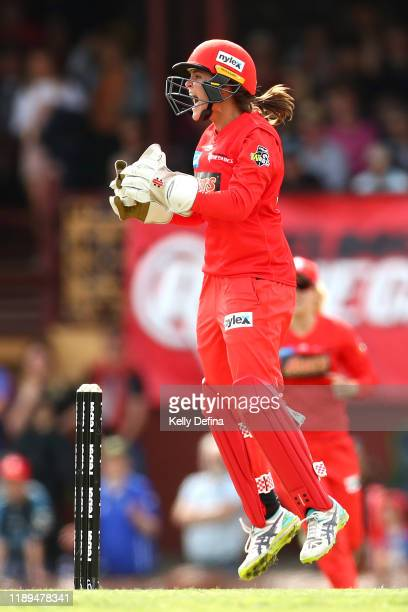 Josie Dooley of the Renegades celebrates during the Women's Big Bash League match between the Melbourne Renegades and the Melbourne Stars at Eastern...