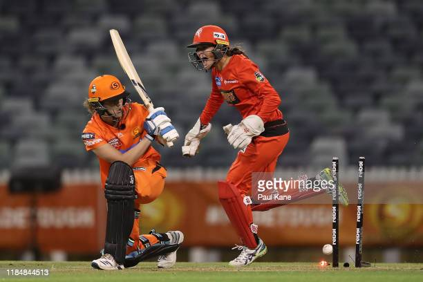Josie Dooley of the Renegades celebrates the wicket of Natalie Sciver of the Scorchers during the Women's Big Bash League match between the Perth...