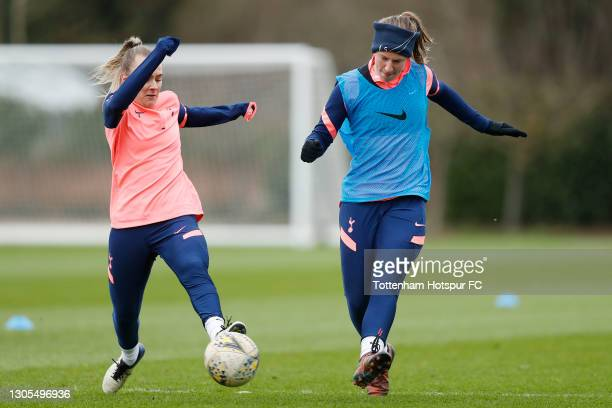 Josie Green and Kerys Harrop of Tottenham Hotspur Women during the Tottenham Hotspur Women training session at Tottenham Hotspur Training Centre on...