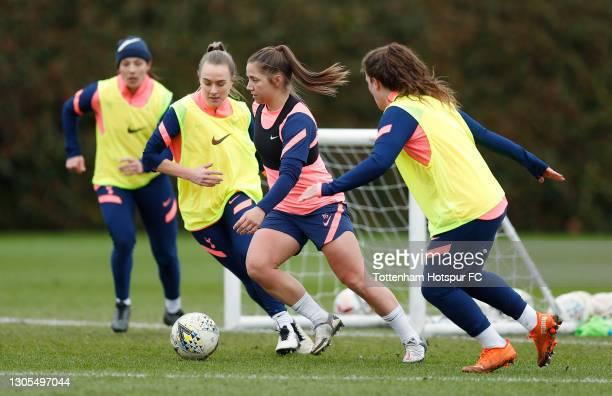Josie Green, Kit Graham and Siri Worm of Tottenham Hotspur Women during the Tottenham Hotspur Women training session at Tottenham Hotspur Training...