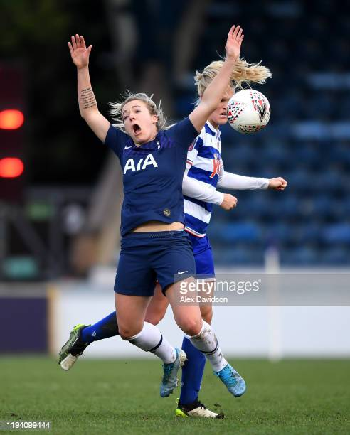 Josie Green of Tottenham Hotspur battles for possession with Kristine Leine of Reading Women during the Barclays FA Women's Super League match...
