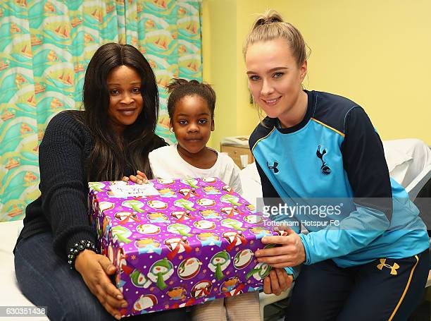 Josie Green of Tottenham Hotspur deliver Christmas presents to Children at Barnet Hospital on December 21 2016 in London England
