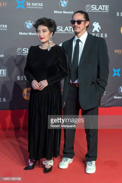 Josie Ho poses on the red carpet during the Sitges Film Festival 2018 closing gala held at the Hotel Melia on October 13 2018 in Sitges Spain