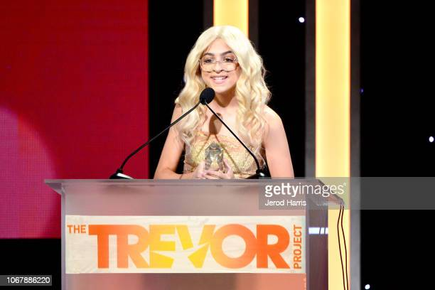 Josie Jay Totah speaks onstage during the Trevor Project's TrevorLIVE LA 2018 at The Beverly Hilton Hotel on December 3 2018 in Beverly Hills...