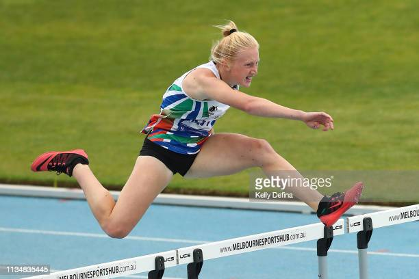 Josie Lawton of Casey competes in the Women's 200 Metre Hurdles Under 16 during the Victorian Track Field Championship at MSAC on March 10 2019 in...