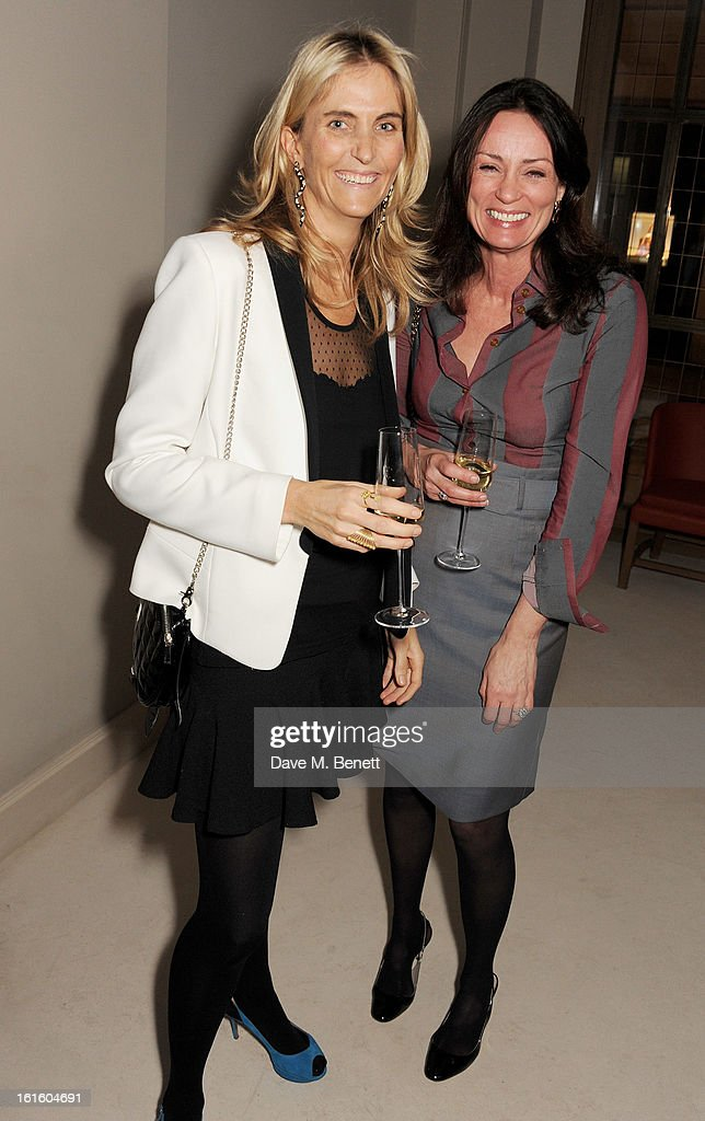 Josie Lindop (L) and Trish Simonon attend a private dinner hosted by Lucy Yeomans celebrating Jason Brooks at Cafe Royal on February 12, 2013 in London, England.