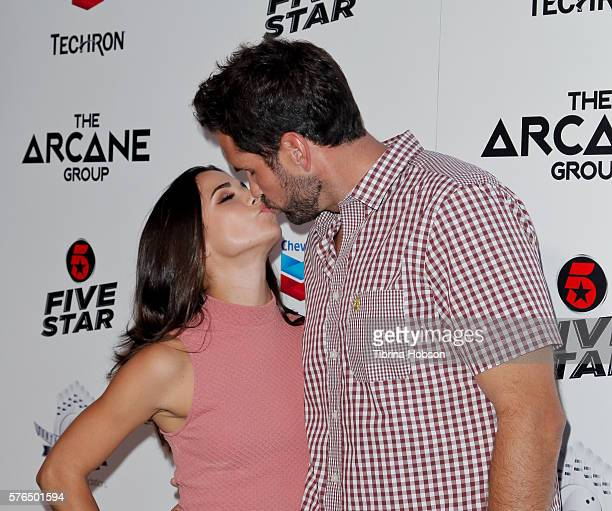 Josie Loren and Matt Leinart attend the Matt Leinart Foundation's 10th annual Celebrity Bowl for Charity Event at Lucky Strike Lanes on July 14 2016...