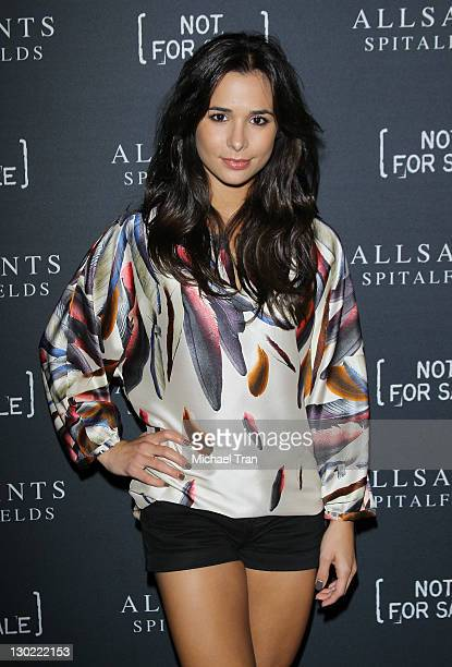 Josie Loren arrives at the AllSaints Spitalfields launch party for 'The Capsule Not For Sale' TShirt Collection held at The Music Box @ Fonda on...