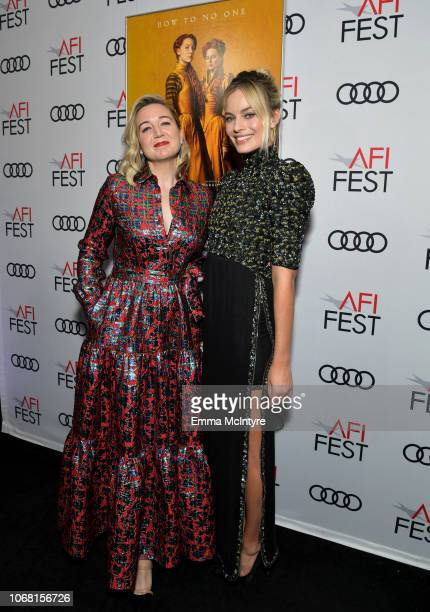 Josie Rourke and Margot Robbie attend the closing night world premiere gala screening of 'Mary Queen Of Scots' during AFI FEST 2018 presented by Audi...