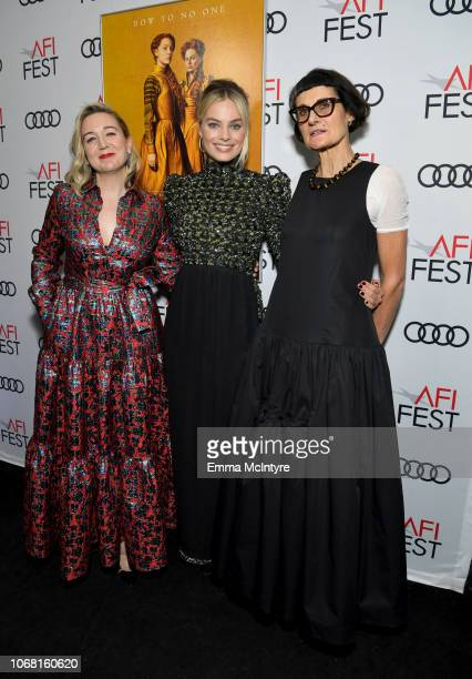 Josie Rourke Margot Robbie and Alexandra Byrne attend the closing night world premiere gala screening of Mary Queen Of Scots during AFI FEST 2018...