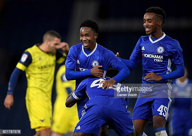 Josimar Quintero of Chelsea celebrates his goal during a Checkatrade Trophy match between Chelsea and Oxford United at Stamford Bridge on November 8...