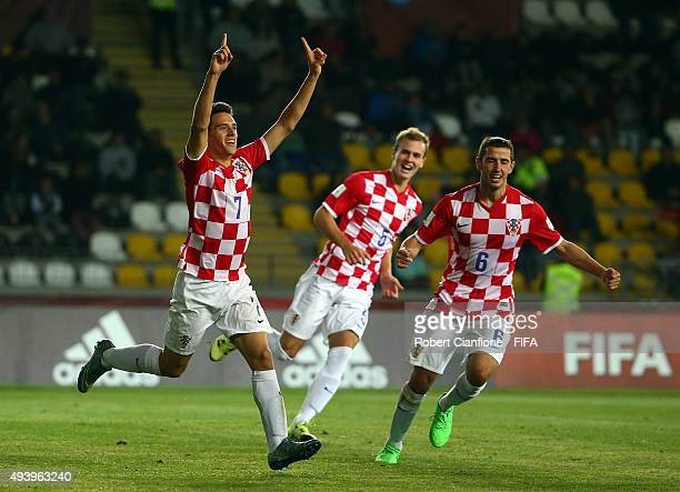 Josip Brekalo of Croatia celebrates after scoring a goal during the FIFA U17 World Cup Group A match between Croatia and Nigeria at Estadio Francisco...
