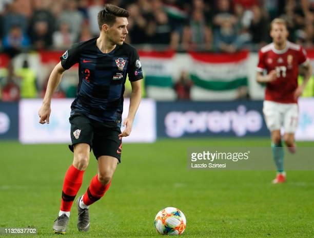 Josip Brekalo of Croatia controls the ball during the 2020 UEFA European Championships group E qualifying match between Hungary and Croatia at...