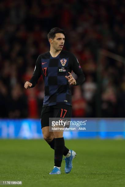 Josip Brekalo of Croatia during the UEFA Euro 2020 qualifier between Wales and Croatia at Cardiff City Stadium on October 13 2019 in Cardiff Wales