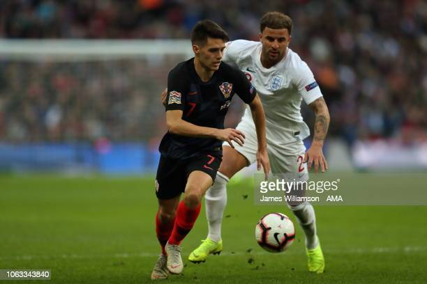 Josip Brekalo of Croatia during the UEFA Nations League A group four match between England and Croatia at Wembley Stadium on November 18 2018 in...