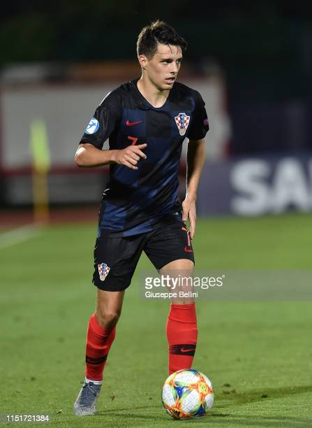 Josip Brekalo of Croatia in action during the 2019 UEFA U21 Group C match between Croatia and England at San Marino Stadium on June 24 2019 in...