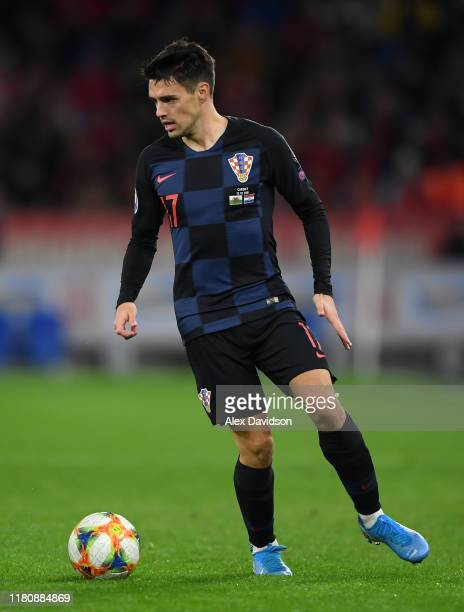 Josip Brekalo of Croatia on the ball during the UEFA Euro 2020 qualifier between Wales and Croatia at Cardiff City Stadium on October 13 2019 in...