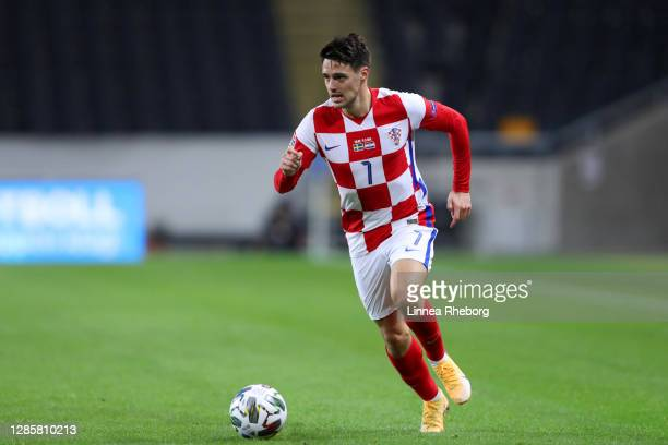 Josip Brekalo of Croatia runs with the ball during the UEFA Nations League group stage match between Sweden and Croatia at Friends Arena on November...