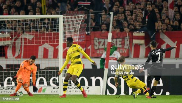 Josip Brekalo of Stuttgart scores his teams second goal against Roman Buerki of Dortmund during the Bundesliga match between VfB Stuttgart and...