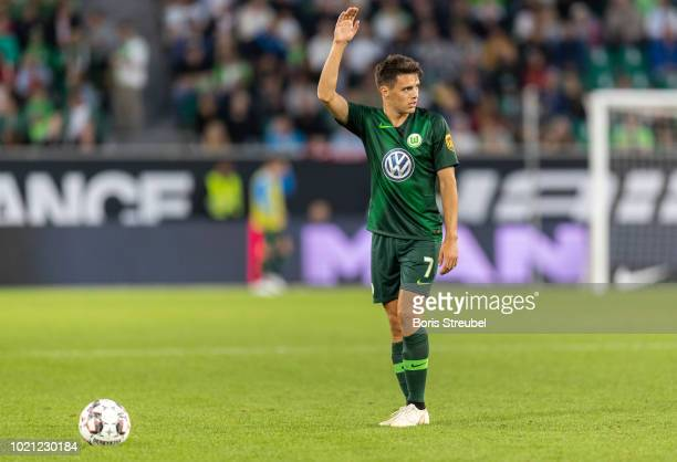 Josip Brekalo of VfL Wolfsburg takes a free kick during the Pre Season friendly match between VfL Wolfsburg and SSC Napoli at Volkswagen Arena on...