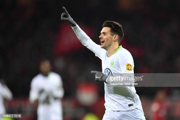 Josip Brekalo of Wolfsburg celebrates after scoring his team's first goal during the Bundesliga match between 1 FC Nuernberg and VfL Wolfsburg at...