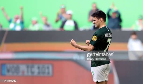 Josip Brekalo of Wolfsburg celebrates after scoring the 71 lead during the Bundesliga match between VfL Wolfsburg and FC Augsburg at Volkswagen Arena...